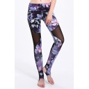 Cool Womens Leggings 3D Floral Patchwork Mesh Pattern Skinny Fitted High Rise Full Length Stirrup Leggings for Women
