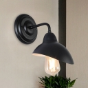 1-Head Waveform Wall Lighting Industrial Black Finish Metallic Sconce Light Fixture for Living Room