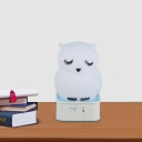 Silica Gel Soft Owl Night Light Kids White Touch and Clap Sensing Rechargeable LED Table Lamp