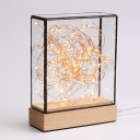 Square Box USB Table Light Kids Transparent Glass Bedside LED Night Lamp in Wood with Bear and String Light