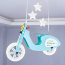 Pink/Blue Cool Motorbike LED Flushmount Kids Wood Close to Ceiling Lamp for Child Room