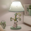 Cartoon 1-Light Nightstand Lamp Blue Rabbit Under The Tree Table Light with Tapered Fabric Shade