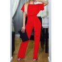 Basic Womens Jumpsuits Solid Color Keyhole Back Bow Scoop Neck Long Loose Fitted Short Sleeve Jumpsuits