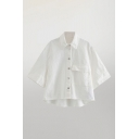 Simple Womens Solid Color White Flap Pocket Button Down Turn Down Collar Half Sleeve High Low Hem Relaxed Crop Shirt