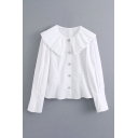 White Cute Plain Button Up Pleated Peter Pan Collar Long Sleeve Relaxed Shirt for Girls