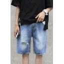 Popular Guys Distressed Bleach High Waist Knee Length Straight Denim Shorts in Blue