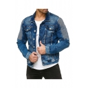 Mens Jacket Fashionable Dark Wash Pleated Chest Pockets Turn-down Collar Button-down Regular Fit Long Sleeve Blue Denim Jacket