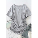 Novelty Womens Solid Color Ruched Drawstring Short Sleeve Round Neck Mini T-shirt Dress