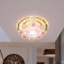 Blossom Ceiling Mounted Fixture Modernist Pink/Yellow Crystal LED Hallway Flush Lamp in Silver, Warm/White Light