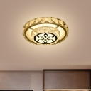 Minimalist LED Ceiling Flush White Round/Square Flushmount Lighting with Crystal Block Shade in Warm/White Light
