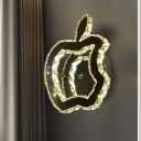 LED Corridor Wall Light Minimalist Stainless-Steel Wall Sconce with Apple Crystal Shade in Warm/White Light