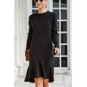 Fashionable Womens Knit Solid Color Long Sleeve Crew Neck Ruffled Hem Mid Fishtail Sweater Dress in Black