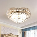 Crystal Block Loving Heart Flush Mount Modernism LED Close to Ceiling Lamp with Tree Design in Gold