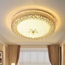 Dome Textured Glass Flush Mount Lamp Contemporary LED Gold Ceiling Light Fixture with Floral Crystal Deco