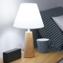 Minimalist Barrel Desk Light Fabric 1 Bulbs Bedroom Night Table Lighting with Conical Base in Wood