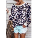 Vintage Womens Leopard Printed Crew Neck Long Sleeve Long Fitted Pullover Sweatshirt