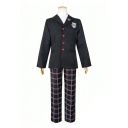 Womens Co-ords Unique Badge Embroidery Blazer Button up Shirt Plaid Printed Pants Skirt Slim Fitted Cosplay Co-ords
