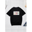 Cool Womens T-Shirt Letter Fine Line Printed Half Sleeve Crew Neck Relaxed Fit T-Shirt