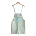 Chic Ladies Overalls Bottle Pattern Metal Ring Pocket Regular Fitted Short Overalls