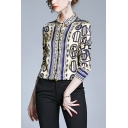 Vintage Womens Paisley Printed Color Block Button Up Turn Down Collar Long Sleeve Regular Fit Shirt