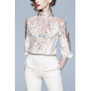 White Pop Floral Pattern Single Breasted Stand Collar Bishop Half Sleeve Regular Fit Shirt for Women