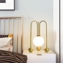 Globe Bedside Nightstand Light Opal Glass 1 Head Modernist Desk Lamp with U-Shape Base in Black/Gold