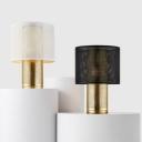 Drum Mesh Metallic Night Lamp Minimalism 1 Light Black/White Task Lighting with Cylindrical Base
