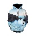 Unique 3D Hoodie Landscape Sea Sky Rock Pattern Drawstring Pocket Regular Fitted Long-sleeved Hooded Sweatshirt for Men