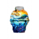 Mens Stylish 3D Hooded Sweatshirt Animal Dolphin Fish Rainbow Wave Pattern Drawstring Fitted Long-sleeved Hoodie with Pocket