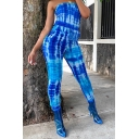 Cool Womens 3D Jumpsuits Tie Dye Strapless Slim Fitted Drawstring Waist 7/8 Length Tapered Jumpsuits