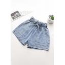 Chic Ladies Shorts Light Wash Pocket Drawstring Paperbag Waist High Rise Elastic Regular Fitted Shorts