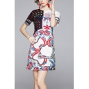 White Vintage Star Floral Print Color Block Round Neck Short Sleeve Mini Swing T Shirt Dress for Women