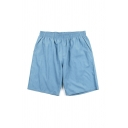 Simple Boys Solid Color Patched Elastic Waist Relaxed Fit Shorts