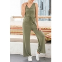 Basic Womens Jumpsuits Solid Color Ruched Drawstring Sleeveless V-Neck Regular Fitted Full Length Wide Leg Jumpsuits