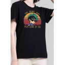 Street Style Black Roll Up Sleeve Crew Neck Letter THAT WASN'T VERY PLUS ULTRA OF YOU Relaxed T Shirt for Girls