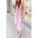 Retro Womens Jumpsuits Plain Single-Breasted V-Neck Cropped Regular Fitted Sleeveless Jumpsuits