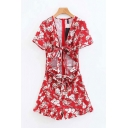 Retro Womens Rompers Flower Pattern Tie Front Cut-out Detail Zipper Back Ruffle Hem Short Sleeve Loose Fitted Rompers