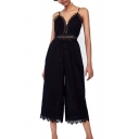 Womens Jumpsuits Trendy Lace-Trimmed Spaghetti Strap Loose Fitted Capri Sleeveless Jumpsuits in Black