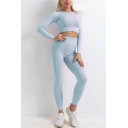 Pop Womens Plain Round Neck Long Sleeve Crop Tee Top & High Waist Ankle Length Legging Pants Knitted Skinny Fitness Sports Yoga Set