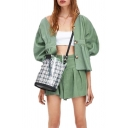 Womens Skort Unique Solid Color Pleated Linen Button Detail Loose Fitted A-Line Relaxed Green Skort