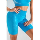 Trendy Womens Striped Color Block Quick Dry High Waist Skinny Seamless Fitness Sports Yoga Shorts