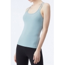Gym Ladies Blue Hollow Out Back Scoop Neck Slim Fit Quick Dry Tank Top