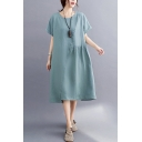 Fashion Womens Solid Color Linen and Cotton Short Sleeve Round Neck Patchwork Asymmetric Hem Mid Swing Dress