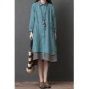 Vintage Womens Patchwork Long Sleeve Turn Down Collar Button Up Linen Slit Sides Mid Oversize Shirt Dress