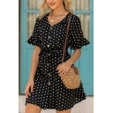 Stylish Women Polka Dot Printed Bell Short Sleeve V-neck Button Up Tied Waist Short A-line Dress in Black