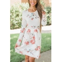 Womens Popular All Over Floral Printed Long Sleeve Round Neck Midi Smock Dress