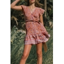 Tribal Womens Ditsy Floral Printed Short Sleeve V-neck Button Up Bow Tied Waist Ruffled Mini A-line Dress