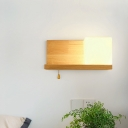 Acrylic Cube Wall Light Sconce Nordic Single Beige Wall Lamp with Pull Chain and Wooden Shelf