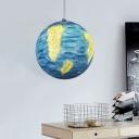 Planet Pendulum Light Kids Style Resin 1 Head Yellow/Orange/Blue Ceiling Hang Fixture for Kindergarten