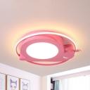 Snail Ceiling Lighting Cartoon Acrylic Kids Room LED Flush Mount Fixture in Pink, Warm/White Light